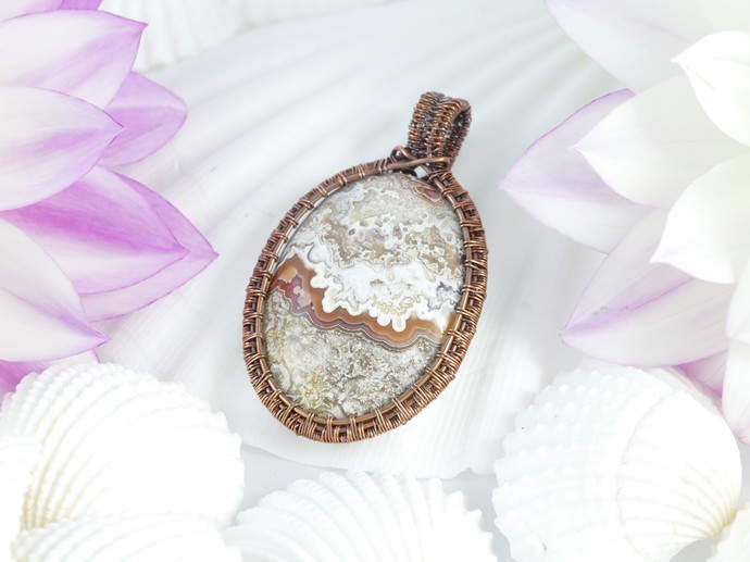 Crazy Lace Agate Copper Pendant; Wire Wrapped Woven includes chain (P104)