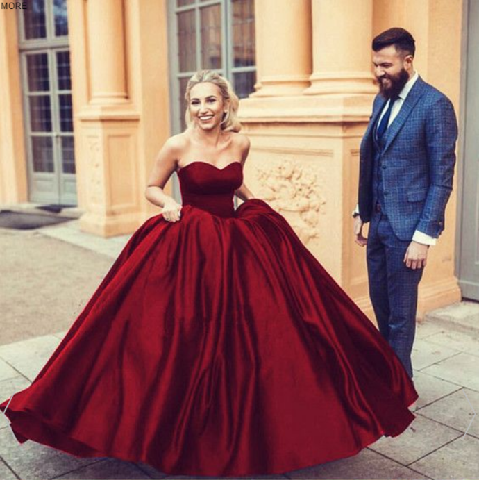 41a247882cf1 Wine Burgundy wedding dresses Satin Sweetheart Ball Gowns Formal Gowns M1298