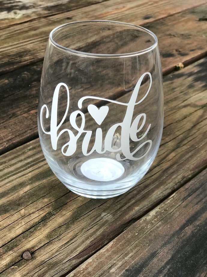 Set of 5 Bride & Co. Bridal Party Gift Stemless Wine glass /Bachlorette Party