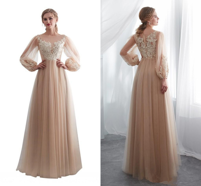 Country Prom Dresses Long Sleeve Lace