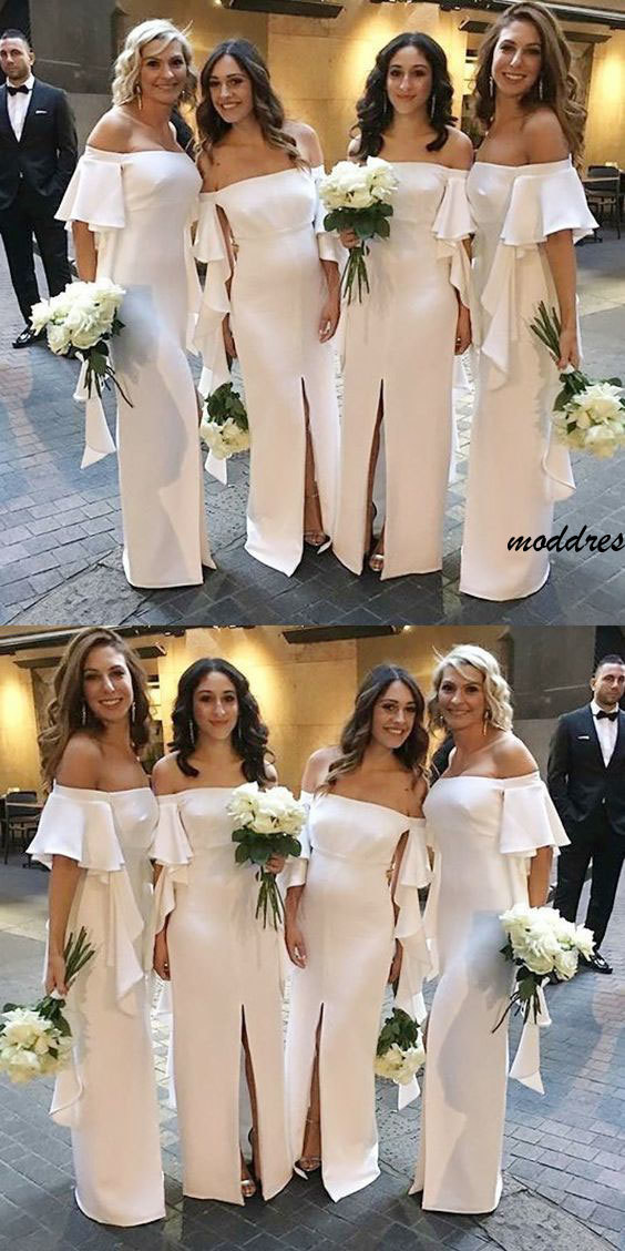 Mermaid Off-the-Shoulder Short Sleeves White Bridesmaid Dress with Ruffles