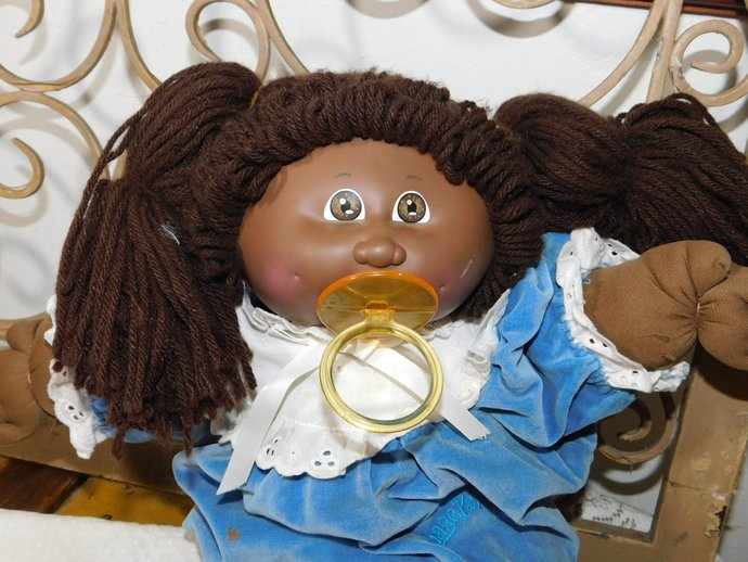 African American Cabbage Patch Doll with Pacifier Hard to Find, Vintage African