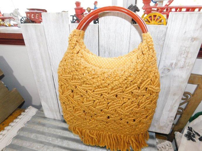 Macrame Vintage Hand Bag, Purse, Vintage Macrame Hand Bag, Vintage Purse, Prop,