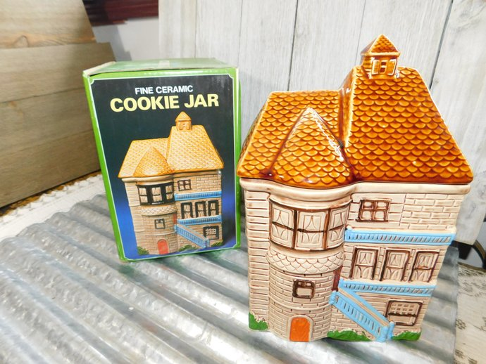 Fine Ceramic Cookie Jar House in Box, Vintage House Cookie Jar, Vintage Cookie