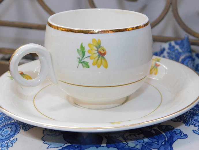 Homer Laughlin China Eggshell Cup and Saucer, Vintage cup and Saucer, Small Cup