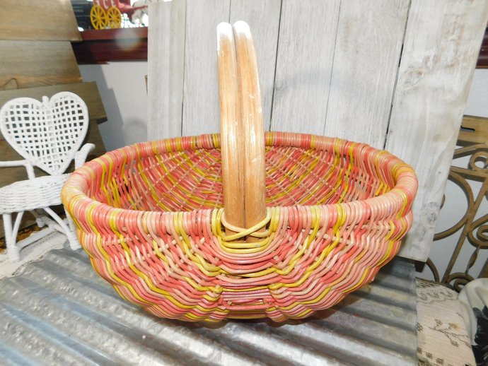 Wicker Branch Basket Oval Size with Branch Handle,Ribbed Basket, Egg Basket,