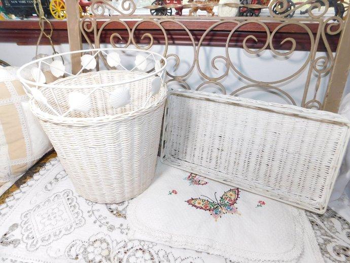 Waste Basket/Vanity Tray Set, Wicker Set, Wicker Waste Basket set with metal