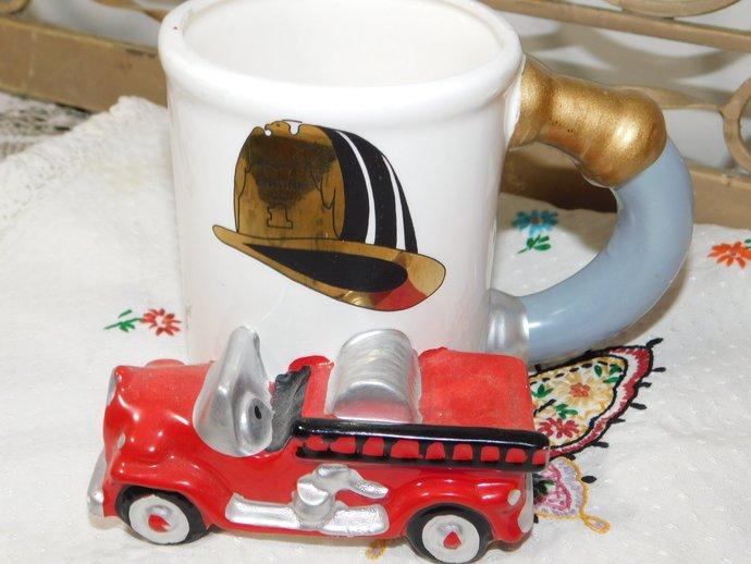 Mug Fireman Cup, Fireman CUP MSR Imports 89, Fireman, Vintage Mug, Vintage dish,