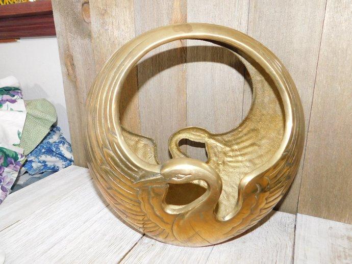 Swan Brass Bowl, Brass Bowl, Vintage Swan Brass bowl, Swan, Vintage Swan