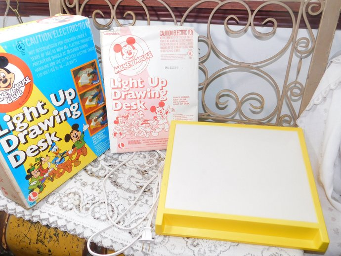 Mickey Mouse Club Light Up Drawing Desk, Vintage  Light Up Tracing Drawing Desk,
