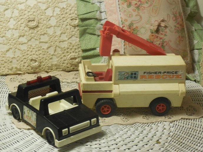 Fisher Price Heroes Husky Toy Police Car 1981, 1974  Rescue Truck, Vintage
