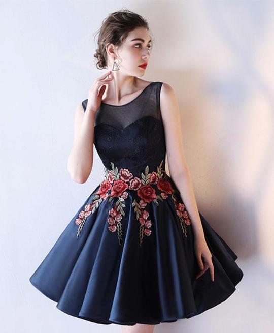 CUTE DRAK BLUE LACE PROM DRESS, HOMECOMING DRESS, SHORT GRADUATION DRESS