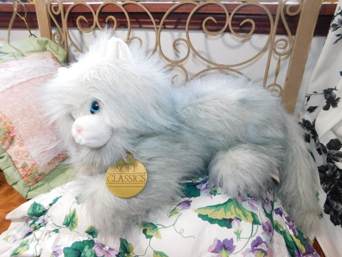 Stuffed Cat/Kitten Dakin Soft Classic Furry Long haired Cat 1988, Grey and White