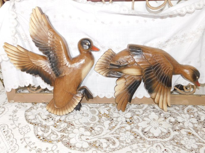 Wild Geese Or Duck Wall Hanging By Syroco, Wild Life Wall Hanging, Bird Wall