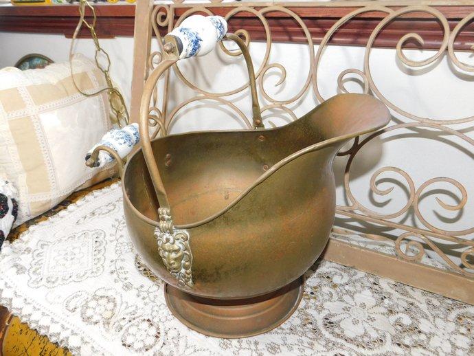 Brass Coal Scuttle Bucket, LG Copper Coal, Ash Fire Place, Bucket Helmet