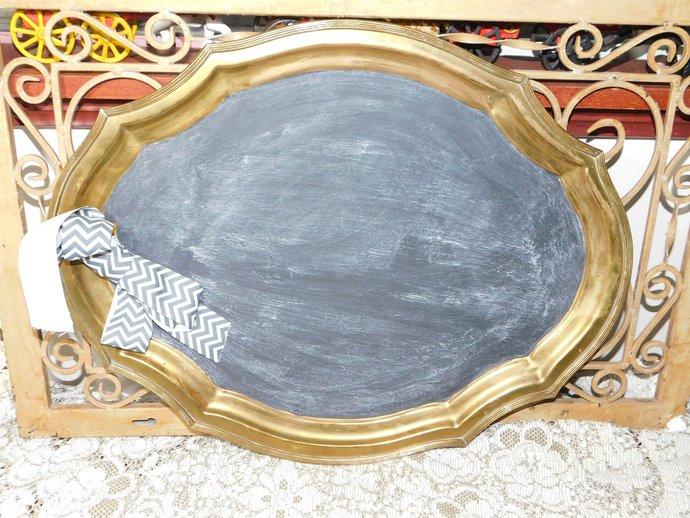 Vintage Brass Tray Chalk Board, Vintage Chalk Board, Vintage Kitchen Decor,