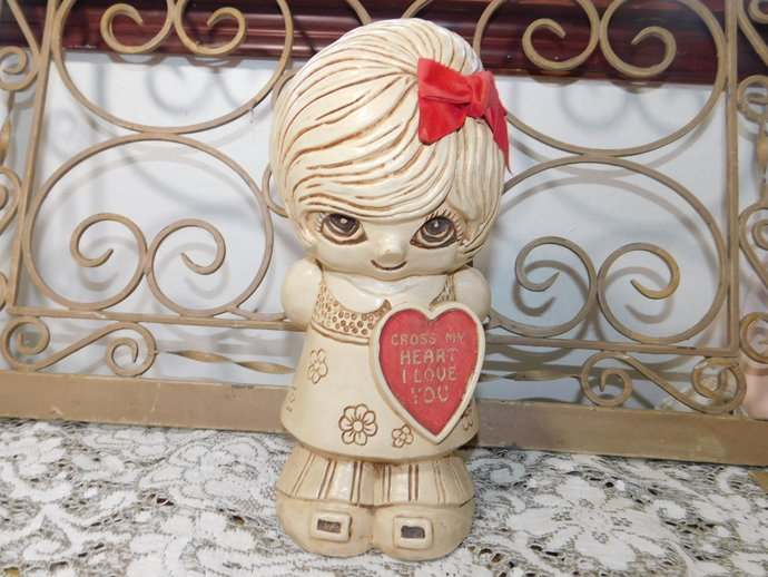 Cross My Heart  I Love You Large Size, Paula 1970, 11 In, Made in USA, I Love