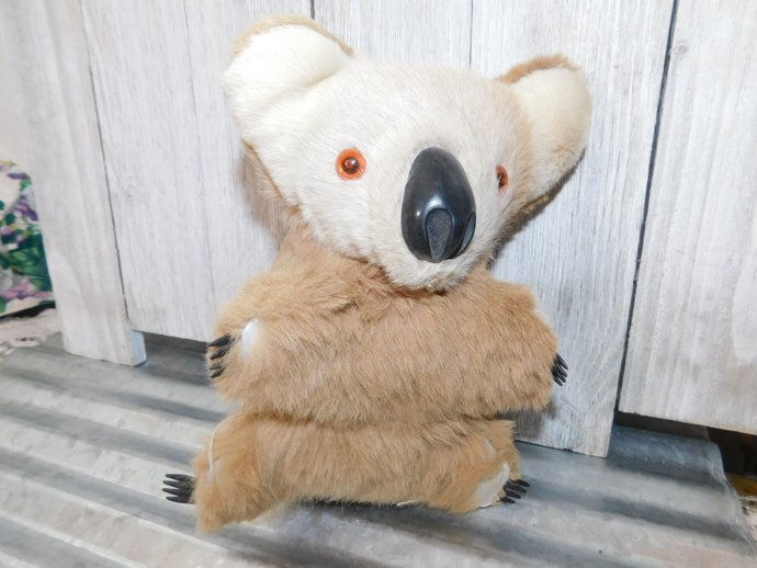 Koala Bear, Baby Vintage Australia Aussie Koala Bear made out of Real Fur,