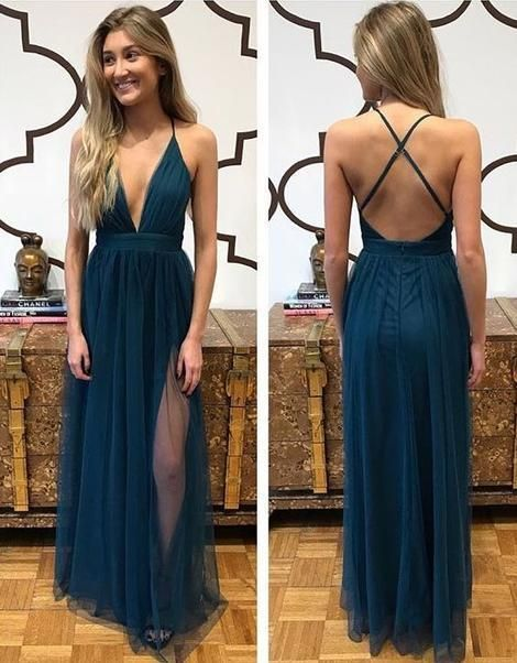 Deep V-neck Sexy Long Prom Dress Custom Made Formal Dress Fashion