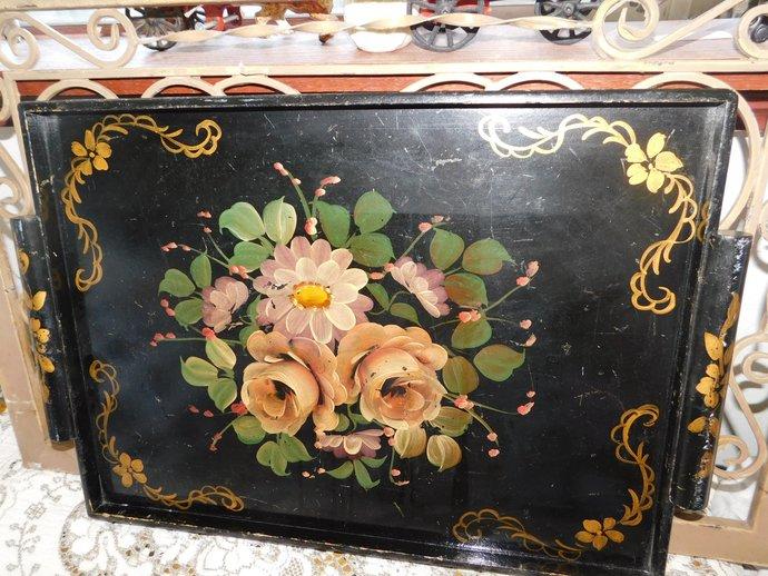 Tole Painted Wood Platter, Vintage wood Platter, Hand Painted Wood  Platter,