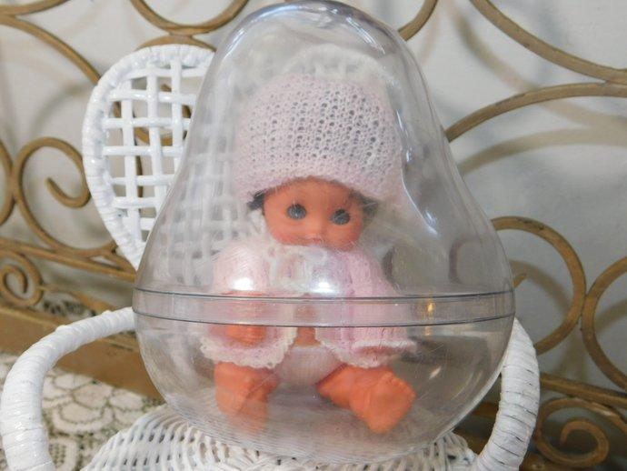 Furga Doll In Pear Shaped Case, Furga Small Doll Vintage Small Doll, Vintage