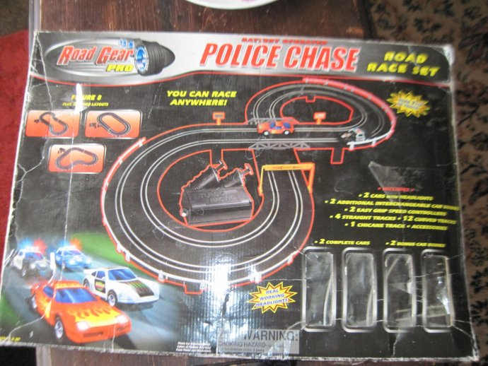 Police Chase Battery Operated Road Race Set, Road Set, Toy Race Set, Vintage