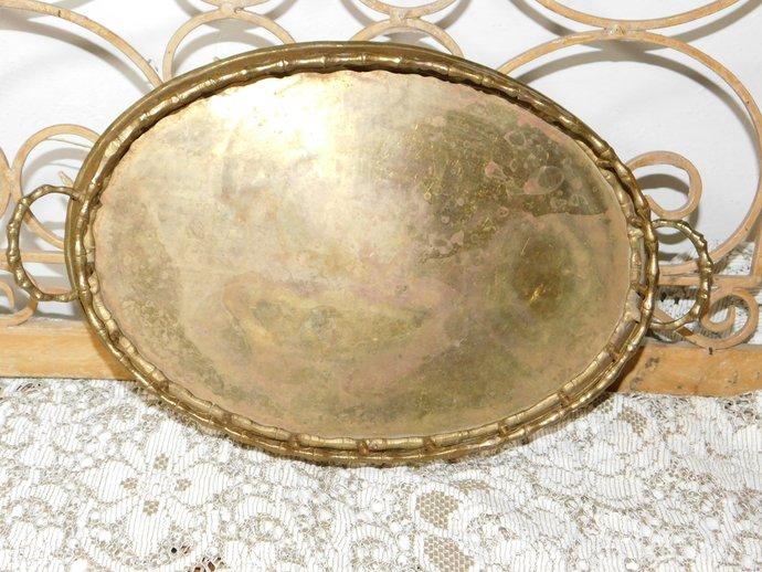 Brass Vanity Gold Mirror, Dresser Mirror, Mirror Tray, Vintage Home Decor,