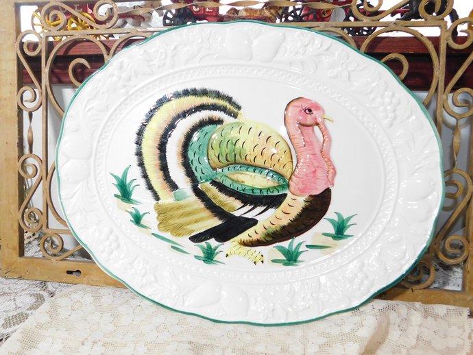 Hons Turkey Platter ,Platter, Turkey Platter, Transfer Ware, Earthenware Turkey