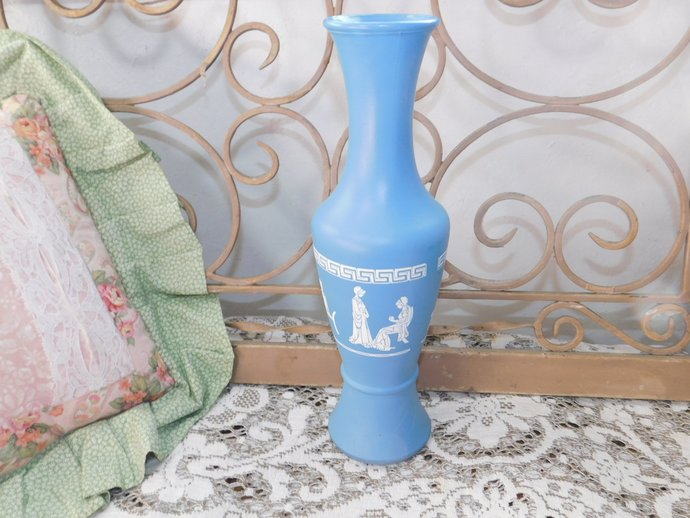 GRECIAN STYLE VASE Fancy Blue ,White Vase, Vintage Vase, Country Home Decor,