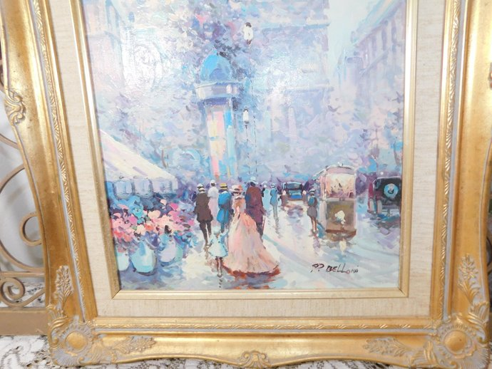 European Painting, P Belloni Oil Painting, Signed Painting,  20th Century P