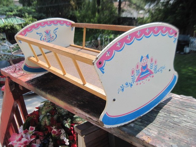 Doll Cradle, Darling Little Pink, White and Blue Doll Cradle, Doll Bed, Doll
