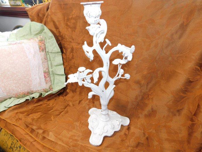 Metal Candle Holder # 2, Vintage Candle Holder, Flowered Metal Candle Holder,