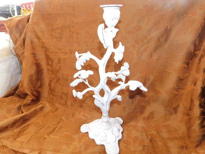 Metal Candle Holder, Vintage Candle Holder, Flowered Metal Candle Holder, White