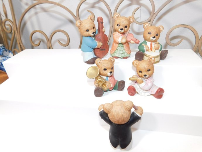 Homco Bear Band Full Set of 6 Bears, Bears, Collectible Bears, Bear Set, Bear