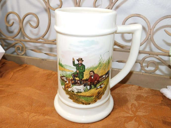 Currier Ives Mug, Wild Duck Shooting Mug with Hunters on it, Currier Ives,