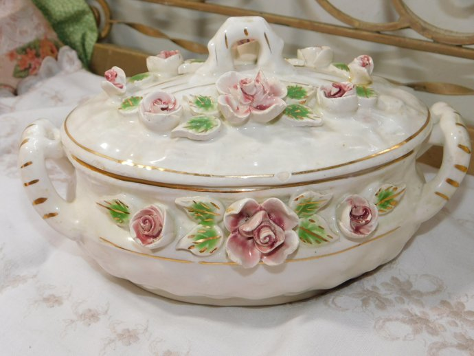 Vintage Bowl, Beautiful Flowered Glass Bowl with Lid, Dresser Decor, Cottage