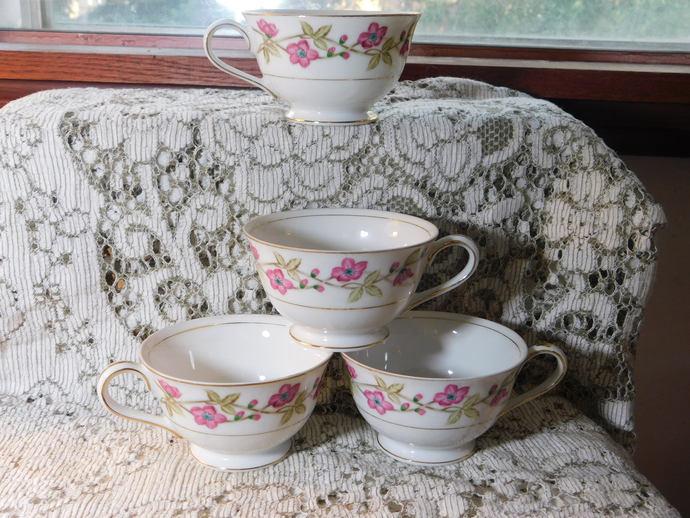Tea Cups Valmont China Briar Rose, Vintage Tea Cups, Vintage China Tea Cups,