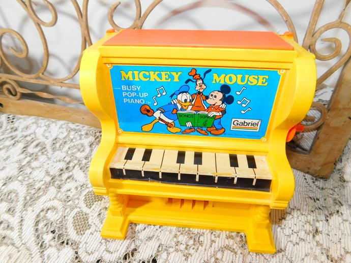 Mickey Mouse Gariel Busy Pop Up Piano 1976, Mickey Mouse, Toy Piano, Disney
