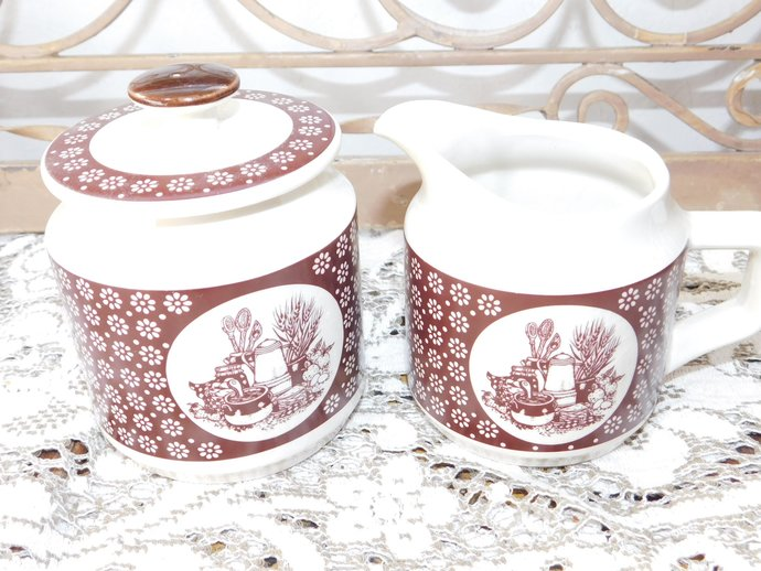 Enesco imports corp, Creamer and Sugar Bowl, Vintage Dishes, Vintage Kitchen,
