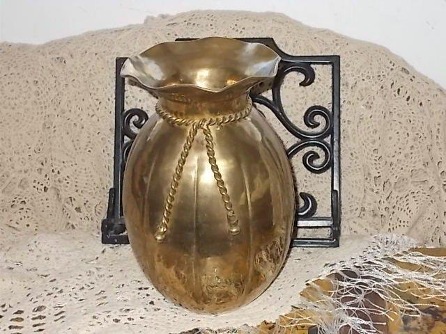 Brass Pot, Brass Pot Vase with Molded Brass rope around it, Flower Pot, Vintage