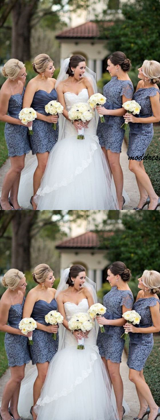 Sweetheart Short bridesmaid dresses,Lace wedding party Dress with Sash BD139