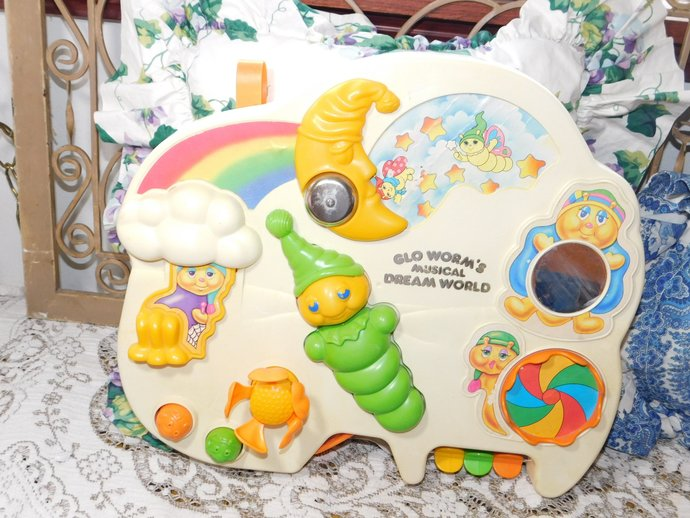 Glo Worm Musical Dream World Crib Toy, Vintage Glow Worm, Vintage Crib Toy,