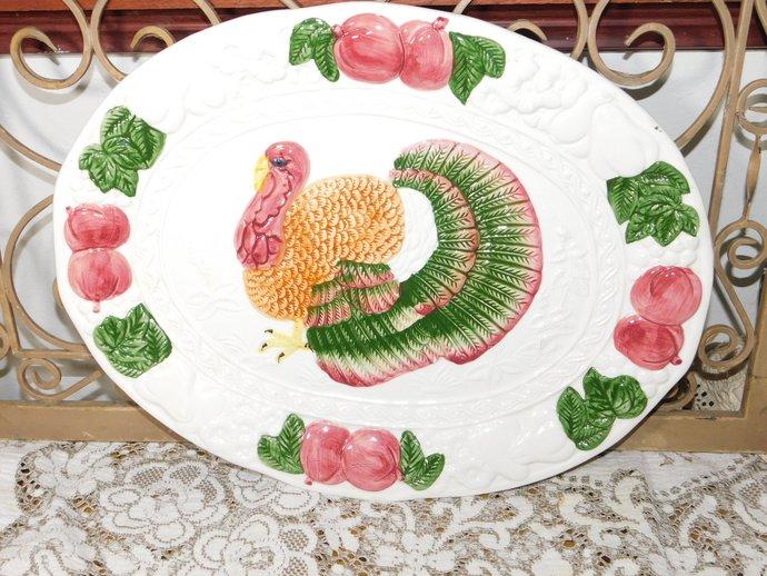 Turkey Platter ,Platter, Turkey Platter, Transfer Ware, Earthenware Turkey