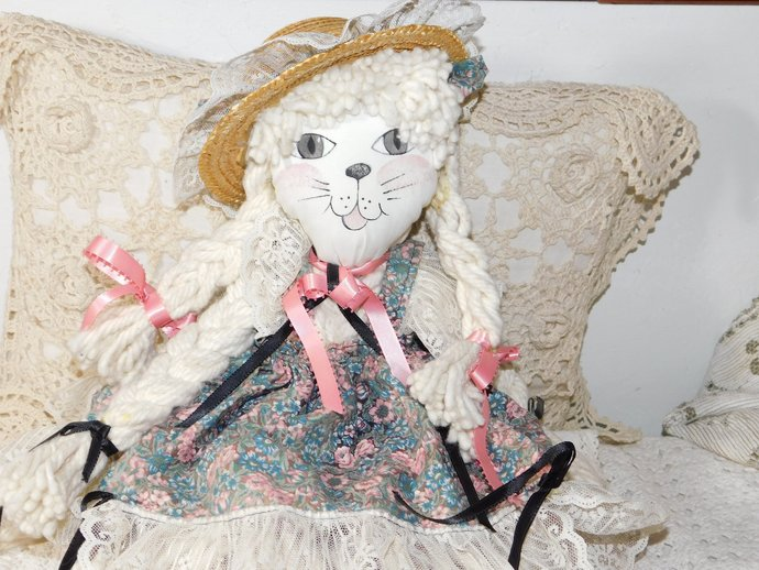 Mop Doll Cat  so Fun, Rag Doll, Cat, Vintage Doll, Vintage Home Decor, country