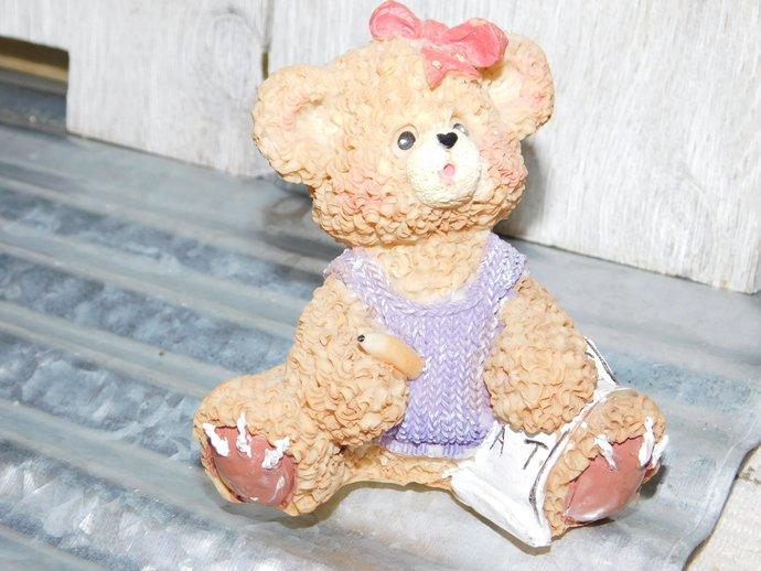 Bear Figurine, Bear, Bear collectible, Girl Bear Figurine, Baby Girl Gift,