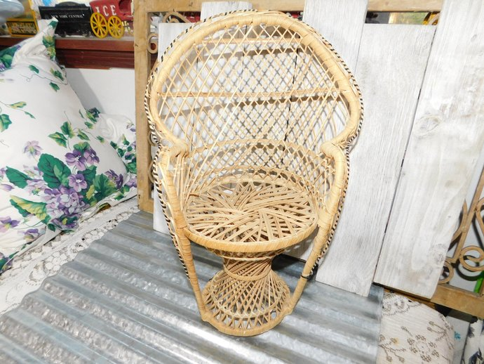 Doll Chair Peacock Chair, Doll Furniture, Wicker Doll Furniture, Rattan Peacock