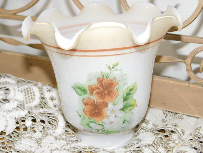 Tulip Shaped Light Shade # 1, Vintage Light Shade, Brown Flowered Light Shade,