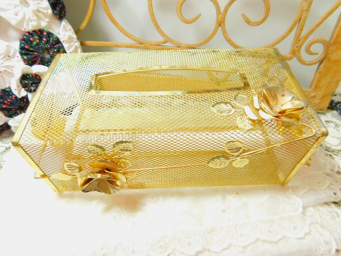 Kleenex Box, Gold, Really pretty Mesh Metal Gold Kleenex  Box,Bathroom