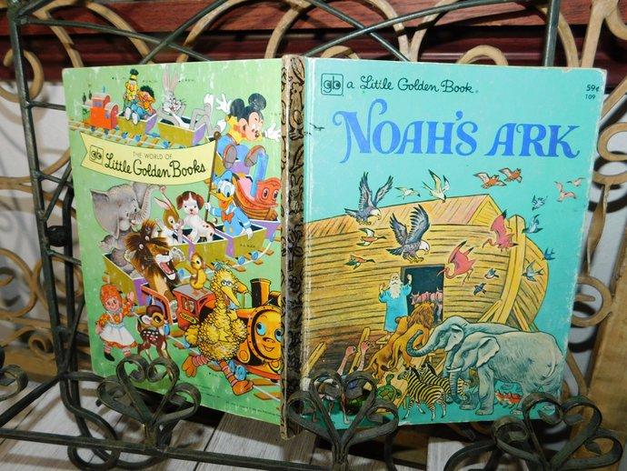 Noahs Ark  Golden Book 1977, Vintage Golden Book, Vintage Book, Vintage