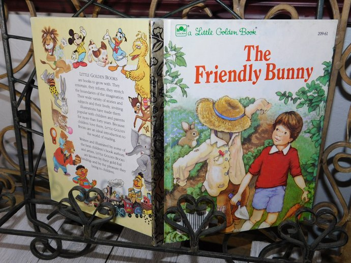 The Friendly Bunny Golden Book Vintage Childrens Book 1985, Bunny Rabbit, Golden